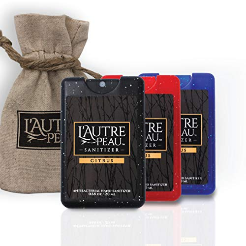 Antibacterial Travel Hand Sanitizer Spray with Aloe Vera by L'AUTRE PEAU - Unique Flat Credit Card Shape - Citrus Scented Mini Sparkle Pocket Size (3 Pack - 20ML, Sparkle Black,Red,Blue)