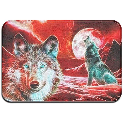 DaiMex Wolf Moon Neon Native American Outdoor mat huisdeurmatten ingangstapijt standaard tapijt