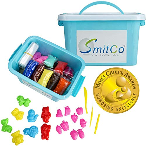 SMITCO Modeling Air Dry Clay for Kids - 36 Colors Fun Preschool Learning Craft Kits and Sensory Toys Activities - Easy to Work with, No Crumbling - for Molding and Slime with 2 Mold and 1 Tool Sets