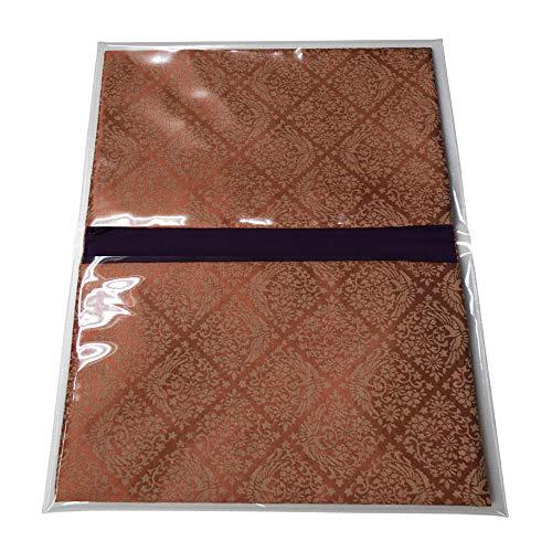 ブック型経本数珠入れ/経本数珠袋古渡緞子(こわたりどんす)赤色閉じた時:約17.5×25cm片方ポケット/片方ファスナー付(l127)