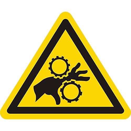 Labelident Warnaufkleber - Warnung Handverletzung bei Zahnradantrieb - Seitenlänge: 50 mm - 100 selbstklebende Warnzeichen in 1 Packung, Vinyl Folie selbstklebend