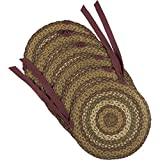 VHC Brands Tea Cabin Jute Chair Pad Set of 6 Log Cabin Country Rustic Lodge Braided Design, Moss Green and Deep Red