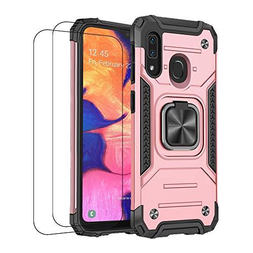 Jancyu - Carcasa para Samsung A20/A20s Samsung A20e (silicona, antigolpes, con cristal templado, silicona, antideslizante, protección magnética) rosa Talla única