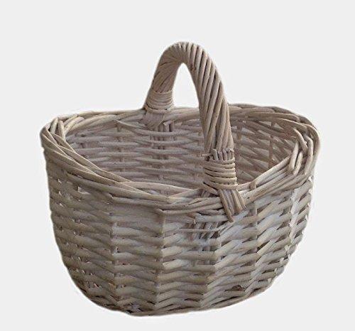 Red Hamper Willow Wicker Shopping Basket Small White Shopper