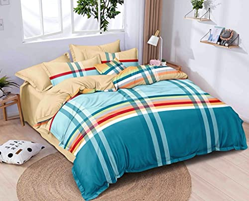 Home Designs Glace Cotton Single Bed Quilt Cover / Duvet Cover / Rajai Cover / Blanket Cover with Zipper (60X90 Inch, White)