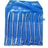 File e Raspa Set di legno Raspa per trinciare Riffler Needle Tools doppio attacco a mano in acciaio al carbonio curve Strumenti per la lavorazione del legno artigianali di materia plastica 8pcs