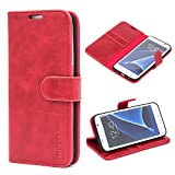 Mulbess Funda para Samsung S7 Edge, Funda Cartera Samsung Galaxy S7 Edge, Funda Libro para Samsung Galaxy S7 Edge con Tapa, Vino Rojo
