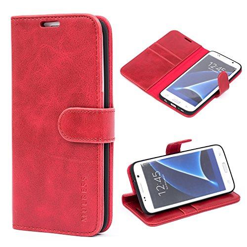 Mulbess Cover per Samsung Galaxy S7 Edge, Custodia Pelle con Magnetica per Samsung Galaxy S7 Edge [Vinatge Case], Vino Rosso