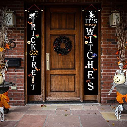 Coskaka 2-teiliges schwarzes Halloween-Deko-Banner zum Aufhängen an der Tür mit Hexen-Motiv für Haustür, Landhaus, vertikale Veranda, Hof, Outdoor, rustikale Dekoration