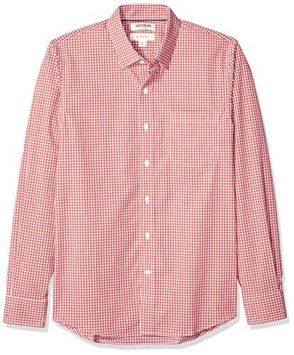 Marca Amazon - Goodthreads - Camisa cómoda de popelín elástico con manga larga, corte entallado, y de cuidado fácil, para hombre, Rojo Check, US XXL (EU XXXL - 4XL)
