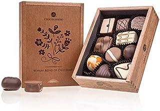 Elegance - Ladies - 10 handgjorda choklad | Högsta kvalitet i en trälåda Chokladpresent | Presentidé | Praliner | För dame...