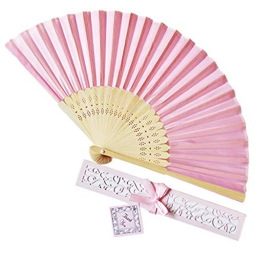 Kviklo Handfächer Faltseide Fächer Handfächerhold Durchbrochener Bambus Massiver Orientalischer Tanz Hochzeit Kostümdekoration Geschenkbox(Rosa,21cm)