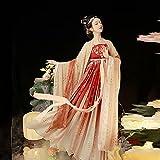 Houchu Hanfu Female Tang Made Adult Costume Chinese Style Fairy Embroidery Hanfu Dress Large-sleeved Shirt Hezi Skirt Cosplay Dance Performance Clothing (Khaki, M)