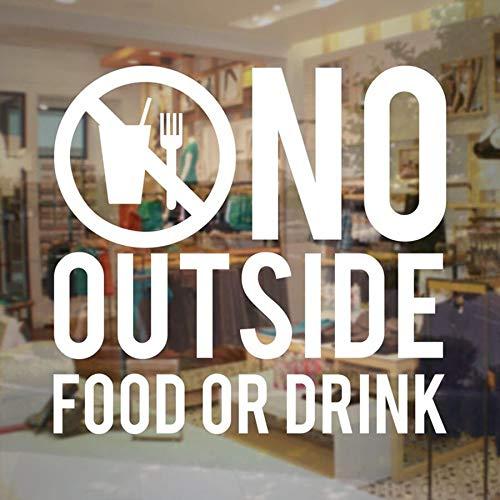 Er zijn geen tekens van levensmiddelen of dranken buiten de winkel van vinyl voor de deur, afneembaar, café, restaurant, winkel, vensterdecoratie, 61 x 57 cm.
