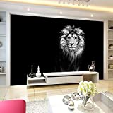 SKTYEE 3D Black White Lion Poster Wall Paper murale Wall Print Decalcomanie murali, 200x140 cm (78.7 by 55.1 in)