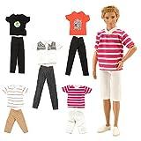 Miunana 3 Causual T-Shirt + 3 Hose für Ken Puppen Sommer