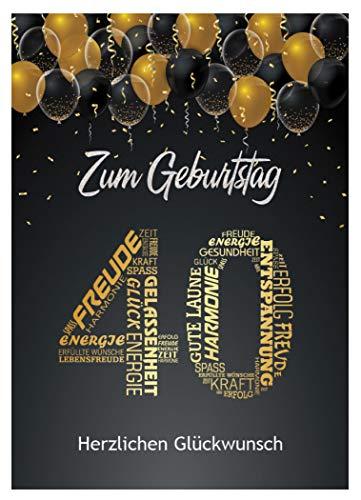 Elegante Glückwunschkarte Geburtstag Geburtstagskarte 40 Jahre Geschenkkarte 40. Geburtstag Schwarz Gold Nummer 40