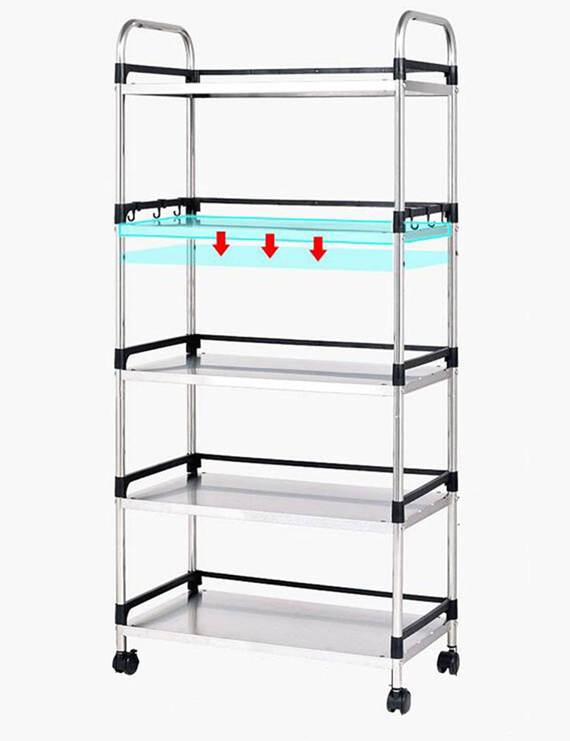 5-Tier Stainless Steel Intermediate Plate Adjustable 5.5cm Microwave Oven Shelf Kitchen Articles Storage Rack Landing Multiple Layers Put The Pot Storage Rack