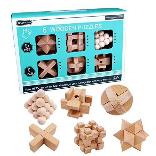 3D Cubo Puzzles de Madera,Rompecabezas Madera,Juguete madera difícil,Juego rompecabezas madera,Juegos lógica adultos,Juego pensamiento lógico,Juguetes madera IQ,Cubo de rompecabezas (A)