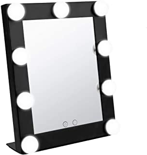 Geek-House Portable Lighted Vanity Makeup Mirror, Hollywood Style Cosmetic Tabletops with 9 x 3W Super Bright Dimmable Touch Control LED Bulbs, Black