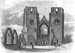 SCOTLAND. Elgin cathedral-looking west - 1859 - old antique vintage print - engraving art picture prints of Scotland Churches - Illustrated London News