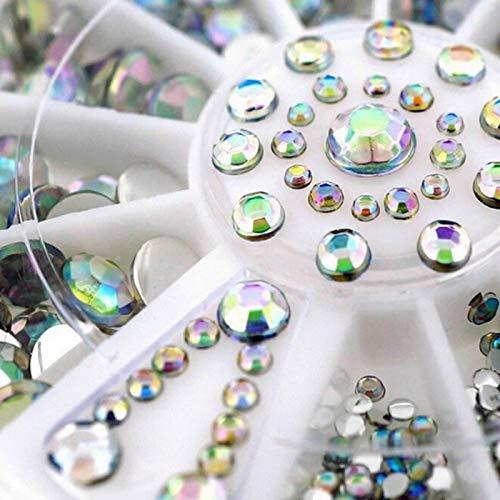 1 Box 3D Nail Art Dekoration Crystal AB Strass Steine Maniküre Zubehör Glitzersteine Schmucksteine zum Aufkleben Multi-Größe Hälfte Perle 2mm 3mm 4mm 5mm R243