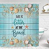 Beach Teal Rustikaler Duschvorhang, Life is Better at The Beach Muschel & Seestern Duschvorhang, Muschel & Seestern Teal Holz Küste Duschvorhang Sommer Badezimmer Set mit Haken (175,3 x 177,8 cm)