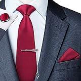 jorlyen uomo designer cravatta - box set con fazzoletto, gemelli e fermacravatta x cucita a mano in microfibra in colori assortiti - confezione regalo (rosso-01)
