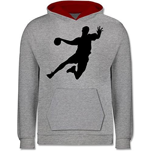 Sport Kind - Handballer - 140 (9/11 Jahre) - Grau meliert/Rot - JH003K - Kinder Kontrast Hoodie