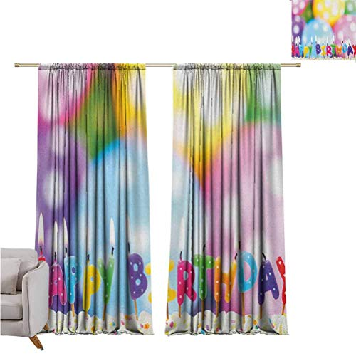 SUZM Kids Birthday Wear-Resistant Color Curtain Celebration Colorful Candles on Party Cake with Abstract Blurry Backdrop for Living Room or Bedroom W63 x L63 Inch Multicolor