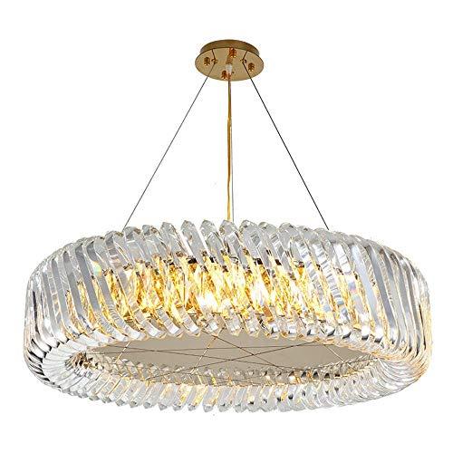 LLLKKK Lámpara de araña de cristal, decoración principal, para salón, restaurante, lámpara de araña grande, lámpara de araña dorada (E14, puerto roscado de 60 cm)