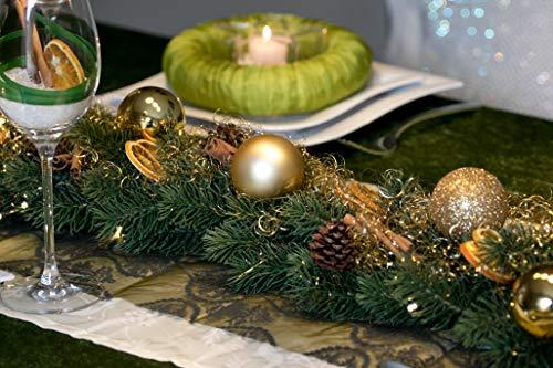 Adventsgesteck Nr.44 Tannengirlande mit goldenen Kugeln und LED Lichterkette mit Akku Tischleger Weihnachtsgesteck, Wintergesteck, Advent Adventskranz