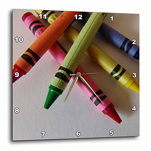 3dRose DPP_7925_2 Color Me Crayons Wall Clock, 13 by 13-Inch