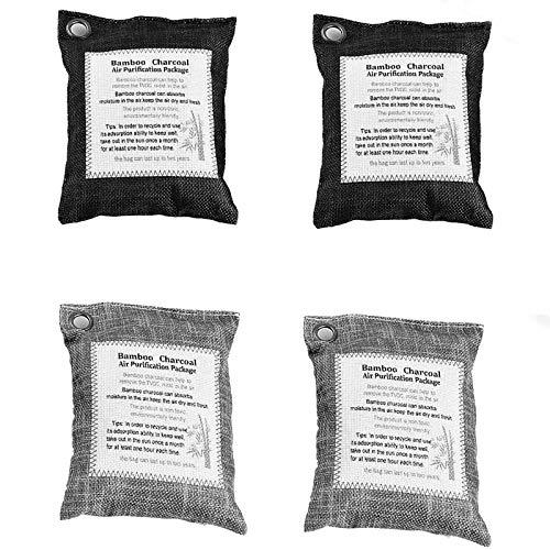 LEASEN Sacs De Purification d'air, 4 Paquets De Sac Bambou Charbon Desodorisant Activé Naturel pour Réfrigérateur, Voitures, Placard, Cuisines, Garde les Pièces Fraîches, Sèches et Sans Odeurs