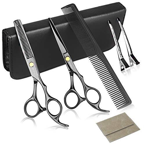 TEHEO Haarschere Set, dünne und scharfe Friseurscheren mit Etui, Perfekte Effilierscheren für Damen, Herren, Kinder - Schwarz