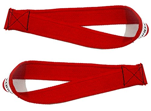 Be Strong Lifting Straps for Olympic Weightlifting, Powerlifting, Bodybuilding - Easy Loop Stitched (Rage Red)