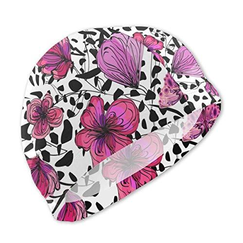 HFHY Papillons colorés sur Le Bonnet de Bain Abstrait imprimé léopard pour Enfants, Bonnet de Bain personnalisé en Polyester