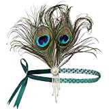 BABEYOND 1920s Stirnband Feder Flapper Stirnband mit Perlen Troddel 20er Jahre Haarband Große...