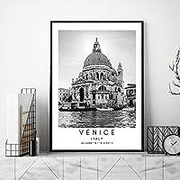 ヴェネツィアコーディネートポスター旅行風景キャンバス絵画インテリアイタリア風景壁アートパネル都市黒白写真北欧版画リビング ルーム部屋モダン装飾画