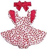 Carolilly Conjunto de 2 piezas de bebé con estampado de corazón rojo + diadema para el pelo de bebé sin mangas tutú vestido Valentine's Day Body niña 0 – 24 meses, Rojo A., 18- 24 Meses