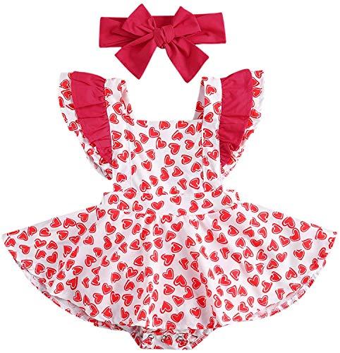 Carolilly Conjunto de 2 piezas de bebé con estampado de corazón rojo + diadema para el pelo de bebé sin mangas tutú vestido Valentine