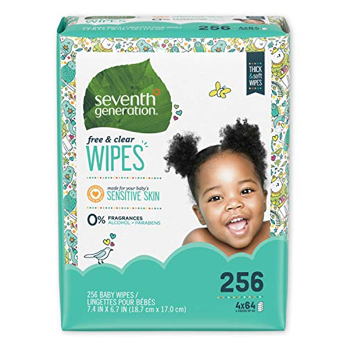 Seventh Generation Free & Clear Baby Wipes, Unscented and Sensitive - 4pk/256ct Total