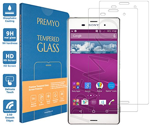 PREMYO 2 Stück Panzerglas Schutzglas Displayschutzfolie Folie kompatibel für Sony Xperia Z3