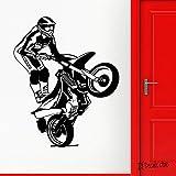 yaofale Motocicleta Vinilo Pared calcomanía Carrera Deportes Extremos Estilo Libre Pegatinas de Pared Fresco Mujeres Arte Mural para Dormitorio decoración del hogar 56x69cm