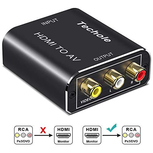 HDMI to RCA Audio Converter- Techole Aluminum HDMI to AV 1080P Converter HDMI to 3RCA CVBS AV Composite Video Adapter Supports PAL/NTSC for Amazon Fire TV Stick, Roku, Apple TV, PC, Laptop, Xbox, HDTV