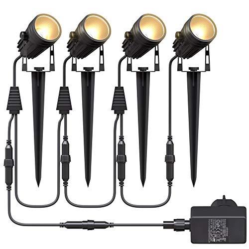 Aogled Gartenbeleuchtung LED,4x3W COB im Freien IP65 Wasserdichter Gartenleuchte, Warmweiß 3000K Gartenstrahler mit Erdspieß,Dekorative Gartenlampe Beleuchtung für Außen Garten Rasen (4er Pack)
