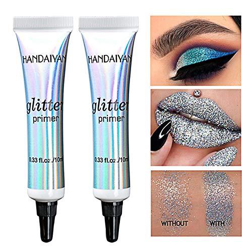 2 Stück Wischfest Eyeshadow Glitter Primer Langanhaltende Augenbasis Make-up Dark-Circle Concealer...
