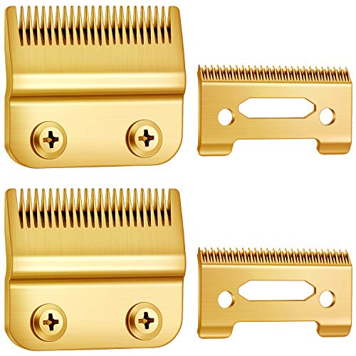 2 Sets Adjustable Hair Clippers Blades 2-Hole Hair Trimmer Replacement Blades Compatible with Wahl 8148, 1919, 8591, 8509, 2241 and 2240 (Gold)