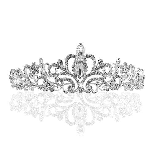 Krone Tiara Hochzeit Brautjungfer Kristall Blume Strass11.42