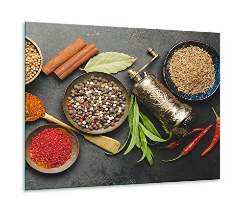 QTA | fornuisafdekplaat 60 x 52 cm keramische afdekking 1-delig universeel elekrofornuis inductie voor kookplaten fornuis spatbescherming snijplank kruiden
